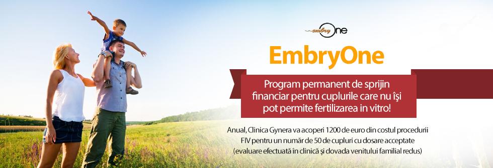 """1200 euro, ajutor din partea Clinicii Gynera pentru fertilizarea in vitro prin programul """"EmbryOne"""""""