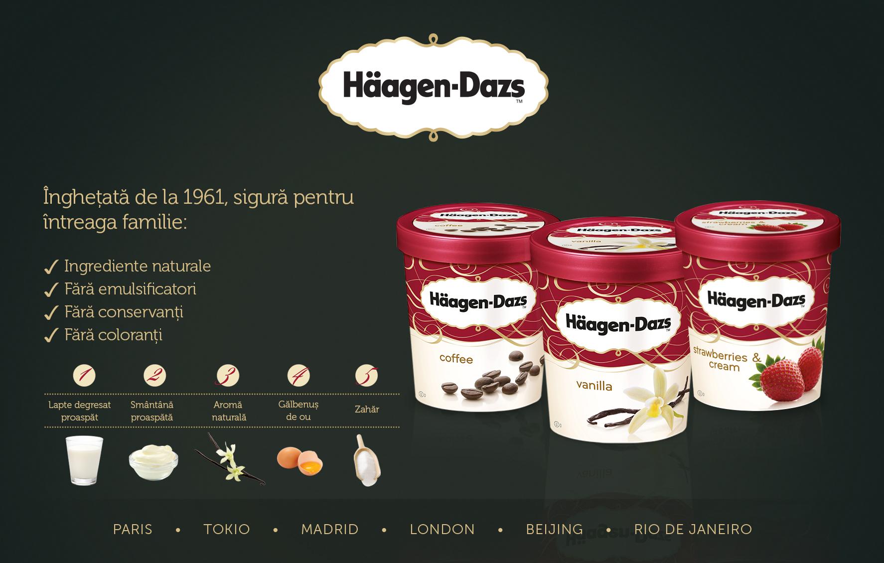 Häagen Dazs – inghetata naturala sigura, fara emulsificatori, conservanti si coloranti