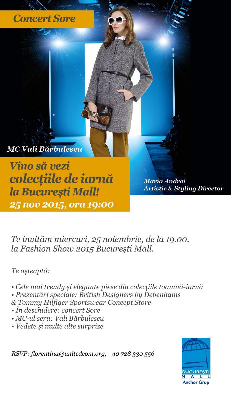 Show de moda cu vedete si concert Sore in Bucuresti Mall