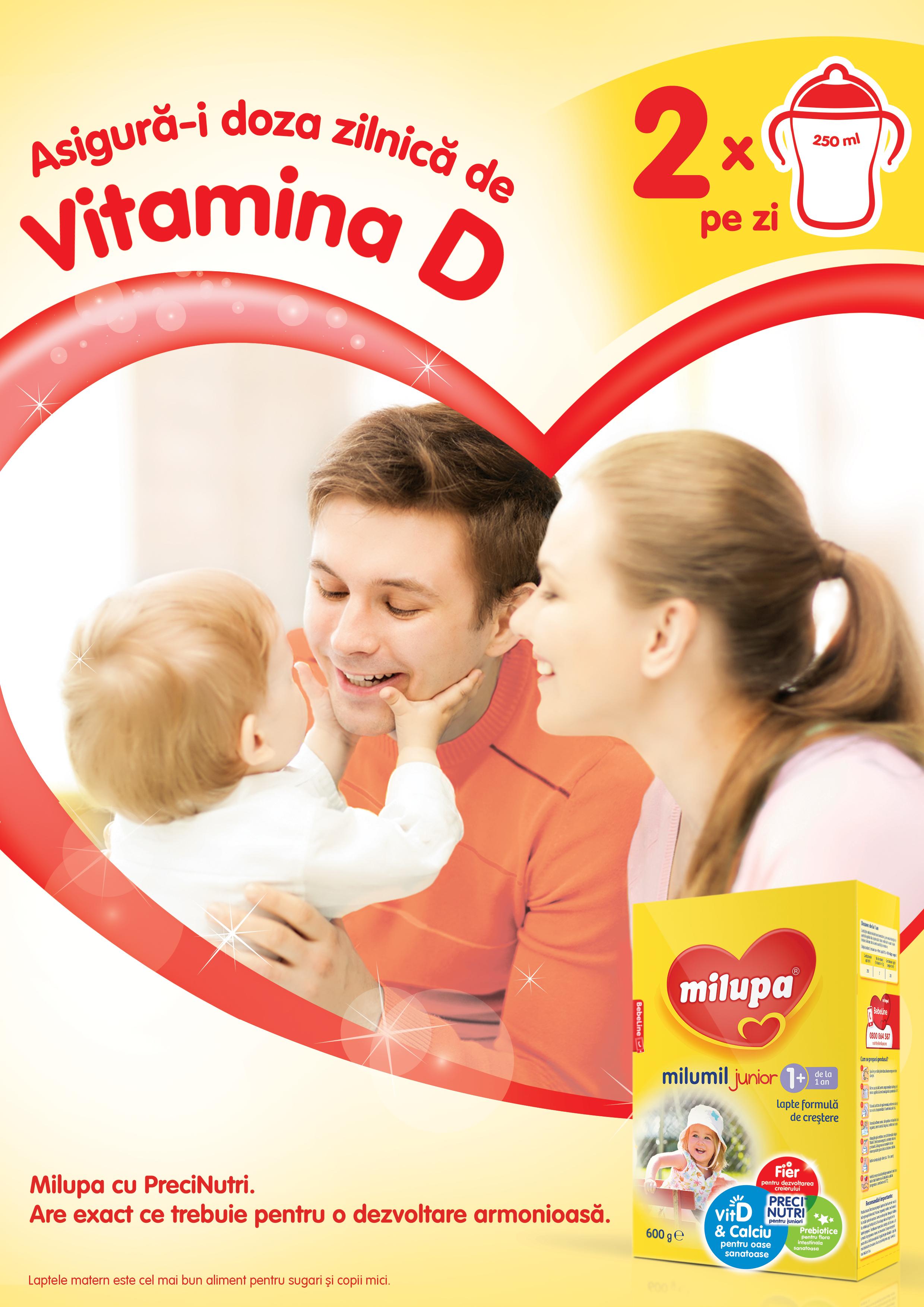 Milupa Milumil ajuta la sustinerea aportului zilnic de Vitamina D in alimentatia copiilor