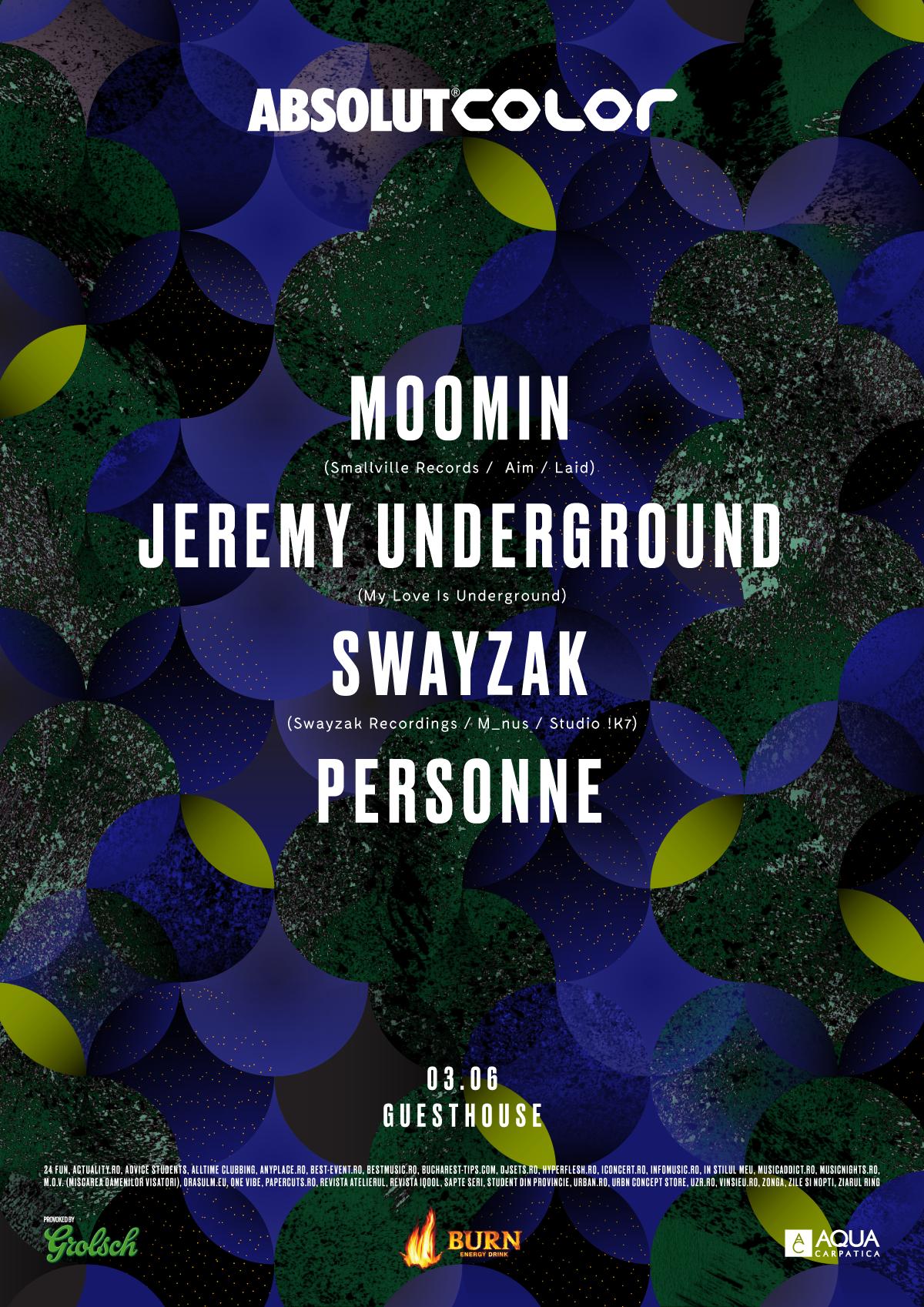 ABSOLUT COLOR prezintă Moomin, Jeremy Underground, Swayzak și Personne
