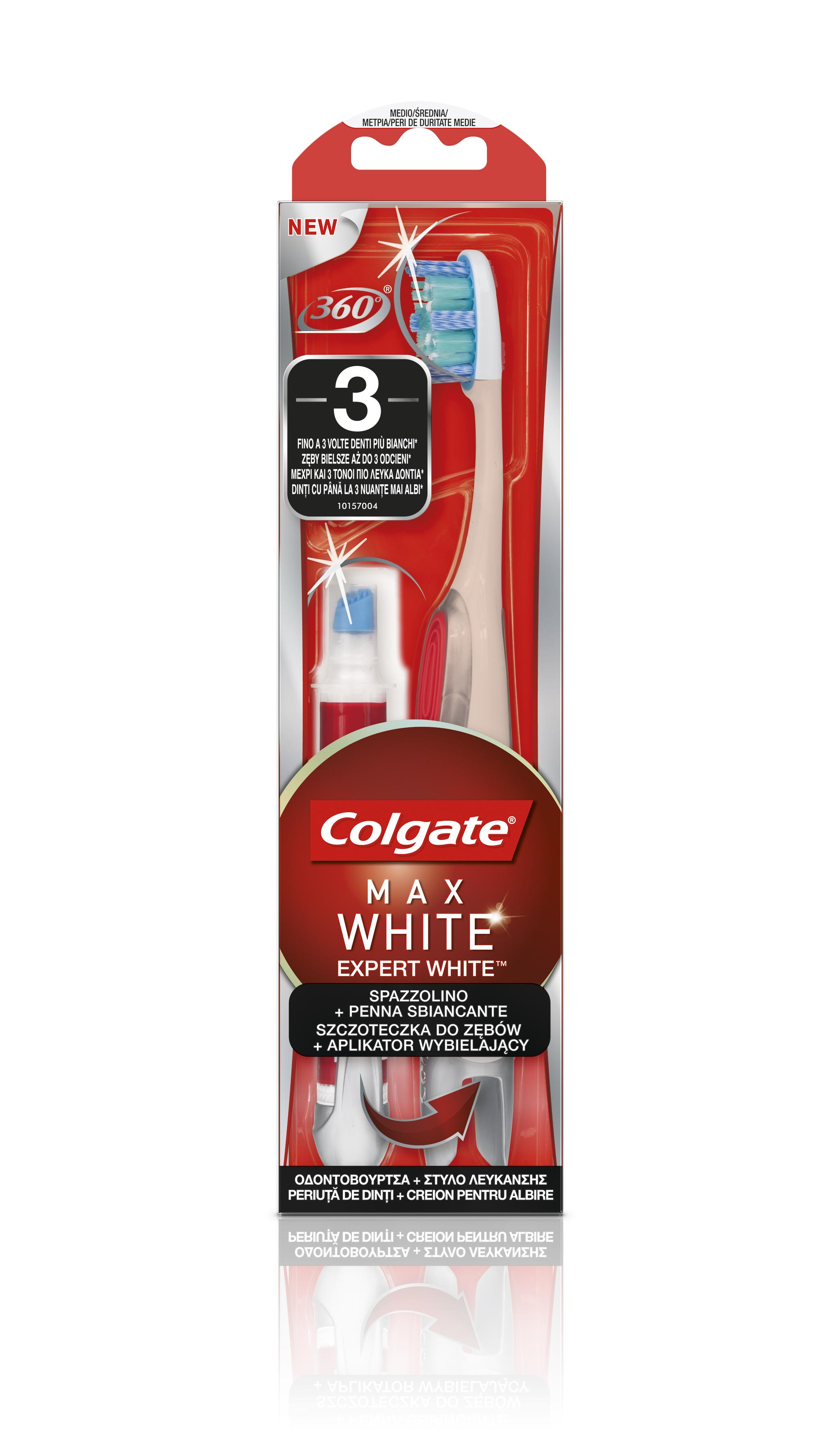 NOU! Periuța de dinți cu creion pentru albire încorporat Colgate® 360° Max White Expert White™