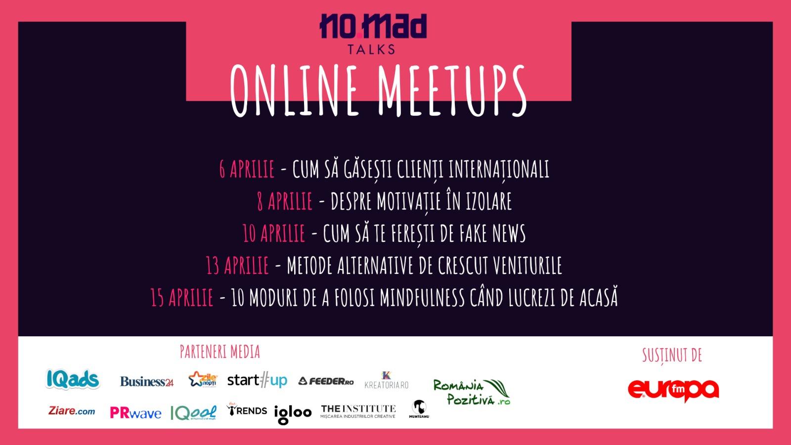 Peste 200 de participanți la NO.MAD Talks Online Meetups, întâlnirile online care susțin comunitatea de freelanceri
